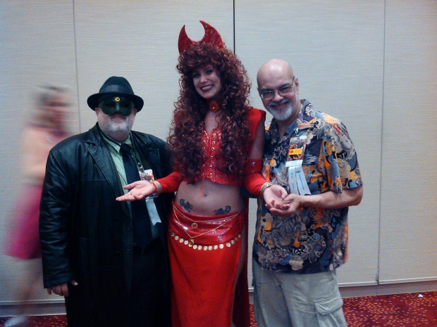 Me at Dragon*Con 2012 with Peter David and George Perez. Fangirling to death.